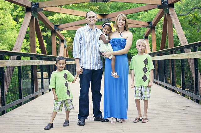 beautiful family on the bridge