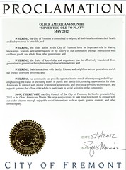 Older American's Proclamation, Fremont City Council