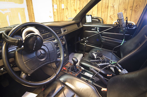 The interior of the 190E, all kitted up.