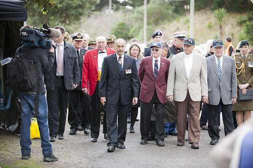 Governor-General, Lt Gen The Rt Hon Sir Jerry Mateparae along side U.S. Veterans Ray LaPlante, Ted Picard and Frank Zelot Jr. at today's Memorial Day Service.