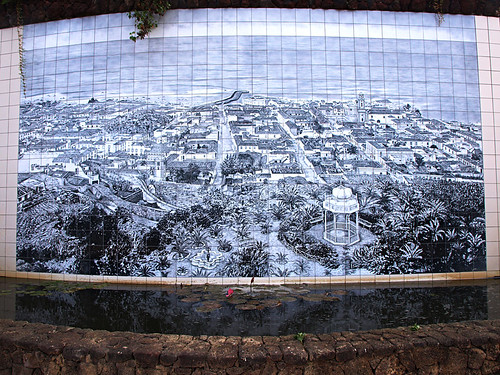 old scenes of Puerto de la Cruz on a tiled mural in Taoro gardens