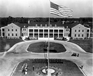 Flag raising ceremony at Corry Field dedication: Pensacola Naval Air Station, Florida