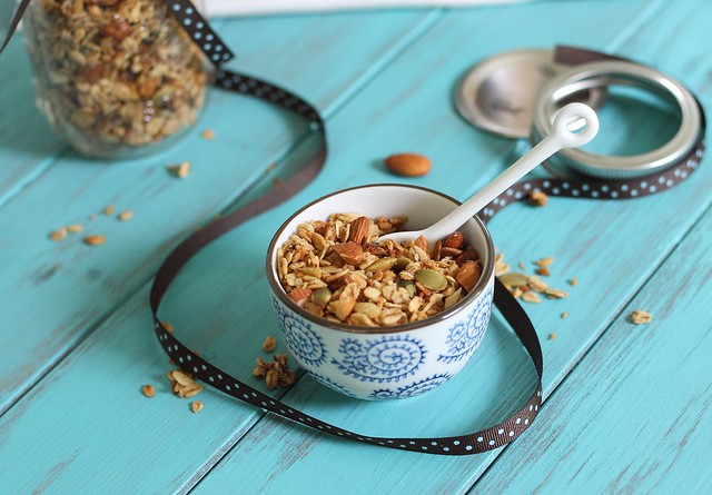 Coconut granola with almonds