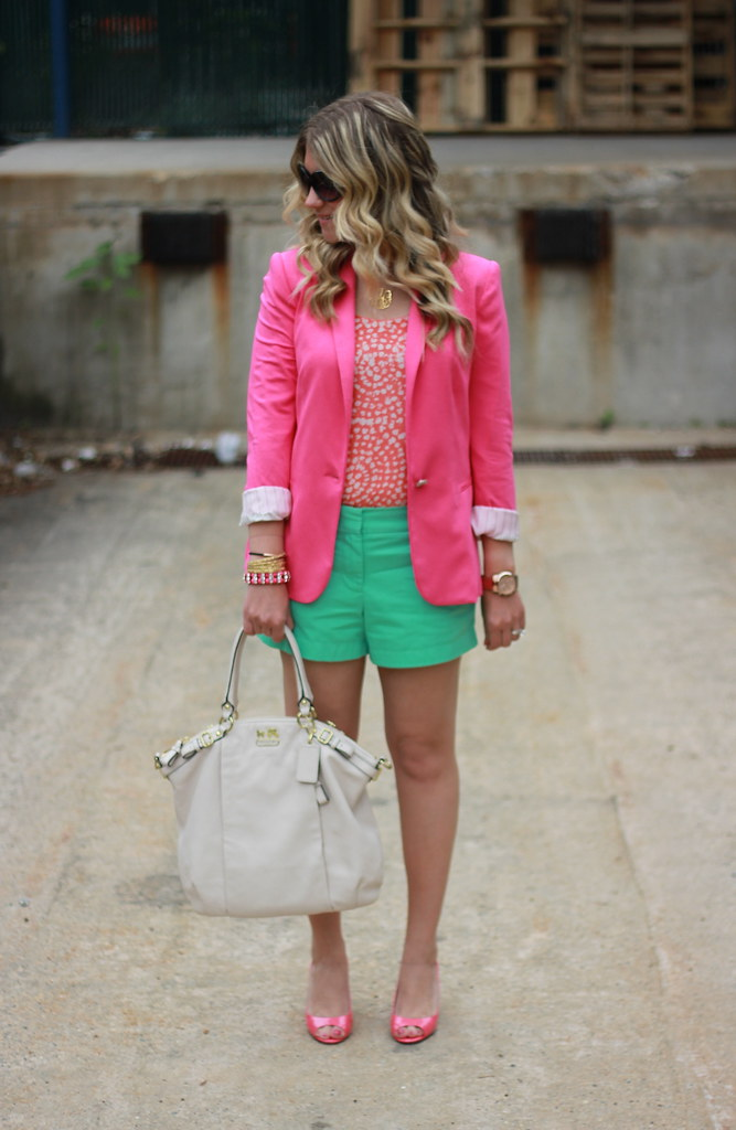 colorful blazer and shorts outfit