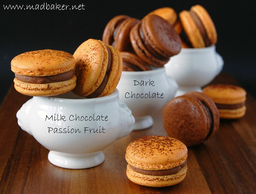 Passion Fruit Milk Chocolate and Dark Chocolate Macarons