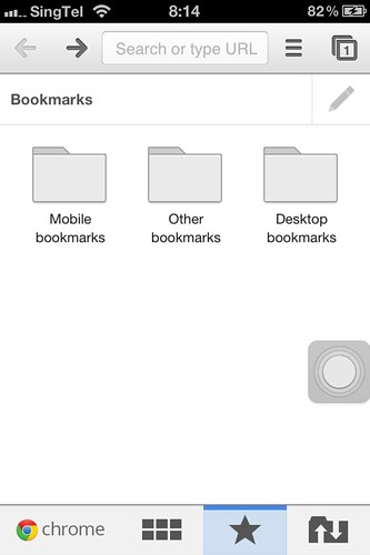 Google Chrome iOS (iPhone) - Bookmarks