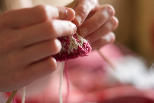 flatmate knitting totoro swatch
