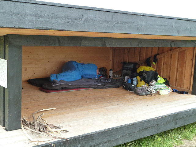 Sleeping in a shelter