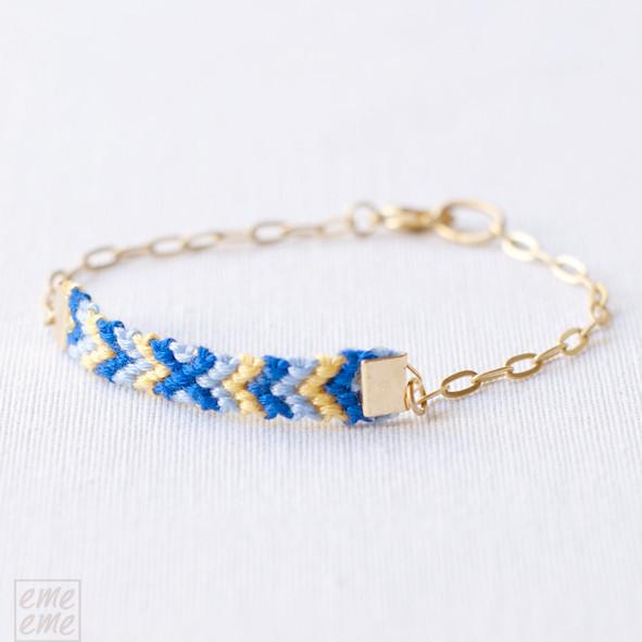 Friendship, Bracelet,gold ,chain,blue,yellow,emeeme,pulsera,amistad,cadena,dorada,nudos,macrame,knot,azul, amarillo,etsy