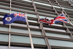 Flag of the Cayman Islands flying outside Eland House