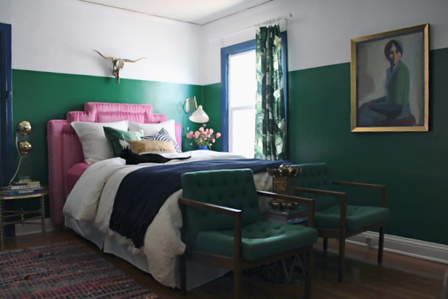 blue green pink bedroom