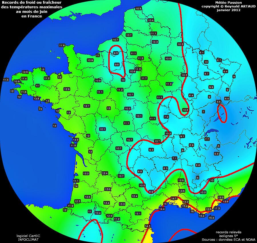 records de fraîcheur ou de froid des températures maximales au mois de juin en France Reynald ARTAUD météopassion