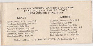 1954 Cruise Itinerary