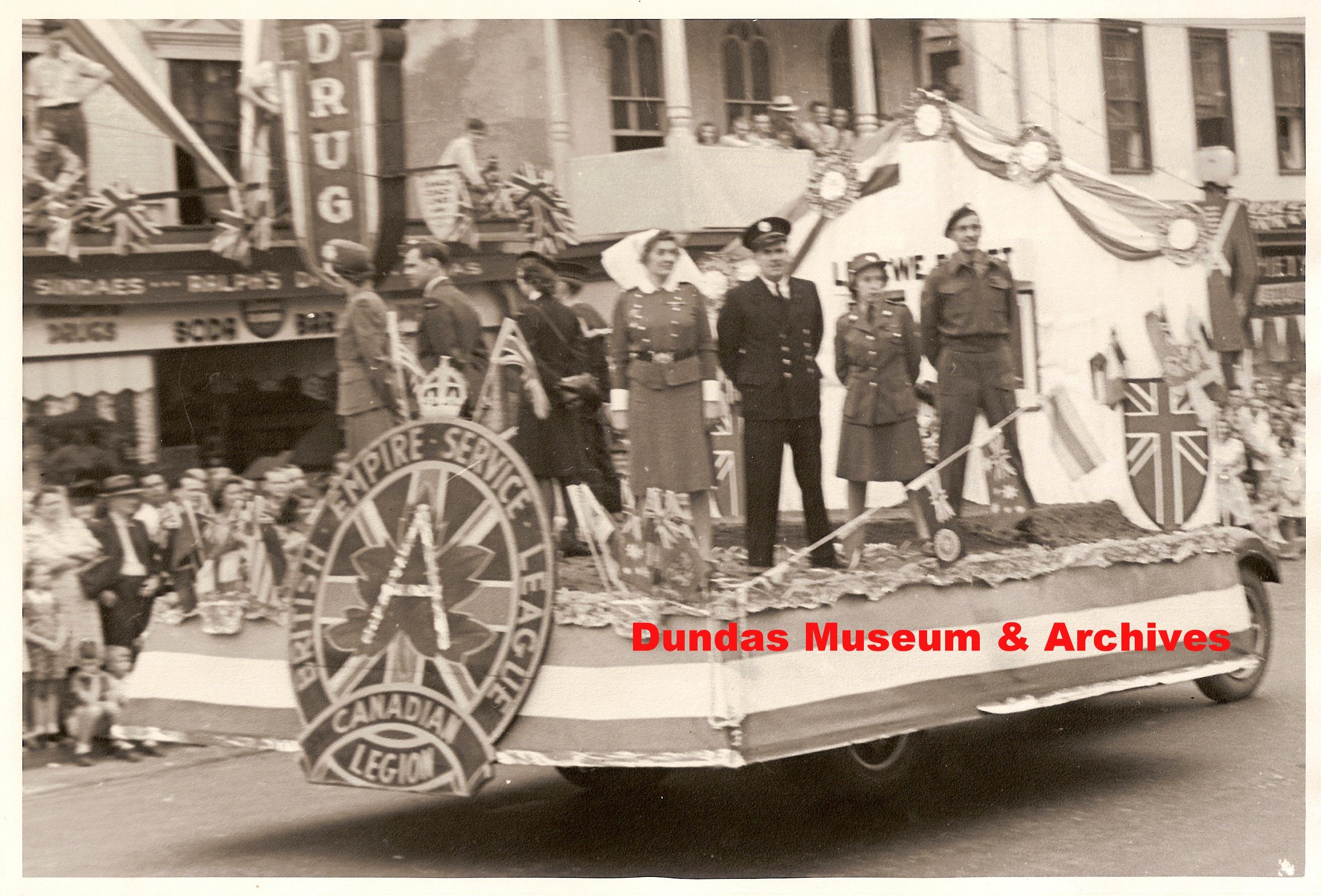 Canadian Legion float in Dundas Centennial (1947) parade