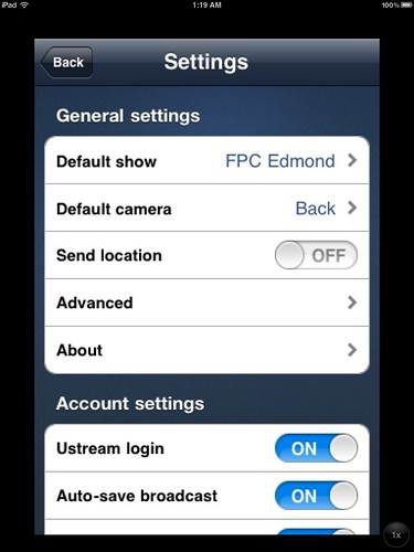 Default Ustream Broadcaster Setting: Auto-Save