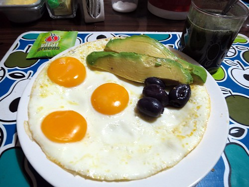 Breakfast: 3 fried eggs, avocado & botija olives, Vital Greens