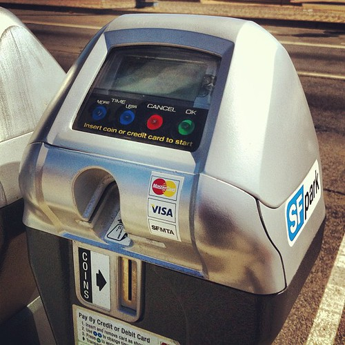 Parking meters...four/five forms of payment