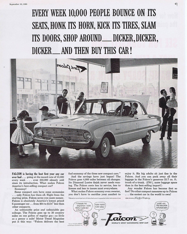 1960 Ford Falcon ad feat. Peanuts