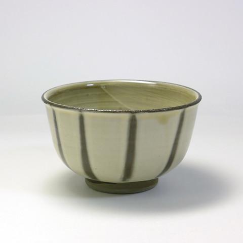 黒木富雄窯 4寸深茶碗/指描き縞