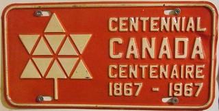 NEW BRUNSWICK 1967 ---OPTIONAL FRONT PLATE ---#4 CANADA CENTENNIAL BILINGUAL