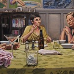 Dinner table 2; oil on canvas, 24 x 48 in, 2016