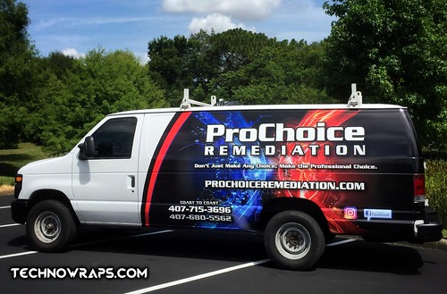 Full color vinyl van wrap designed by TechnoSigns in Orlando