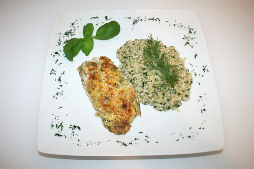 40 - Rotbarsch an Perlgraupenrisotto / Redfish with pearl barley risotto - Serviert