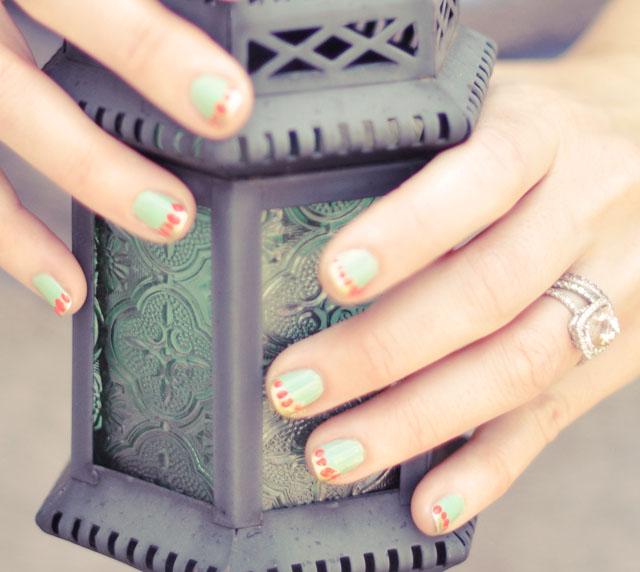 mint-gold-coral manicure-nail art