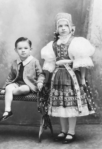 Vintage Victorian Czech Children Dressed in Traditional Costumes