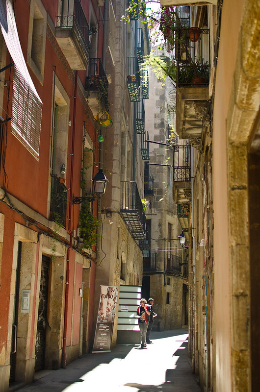 History filled streets in Barri Gotic of Barcelona.