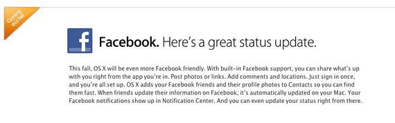 Facebook para OS X Mountain Lion en Otoño