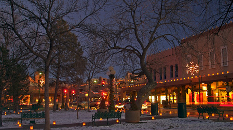 Santa Fe Plaza with Christmas lights