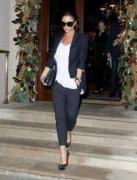 Victoria Beckham Black Cropped Trousers Celebrity Style Woman's Fashion