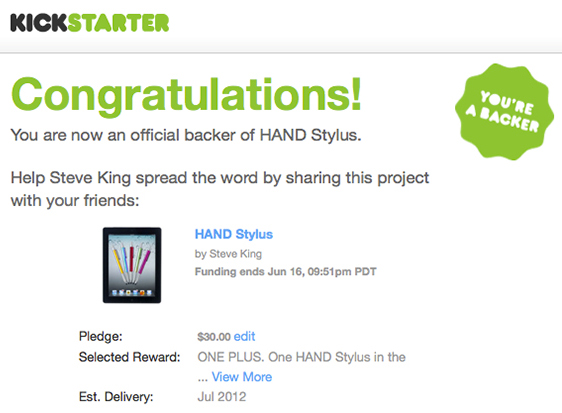 Kickstarter - The Hand Stylus