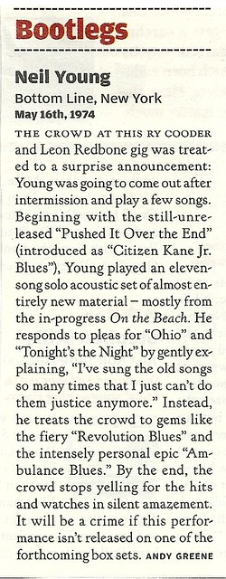 05/16/74 Neil Young @ The Bottom Line, NYC, NY (Bootleg Review from Rolling Stone Magazine - Issue N/A)