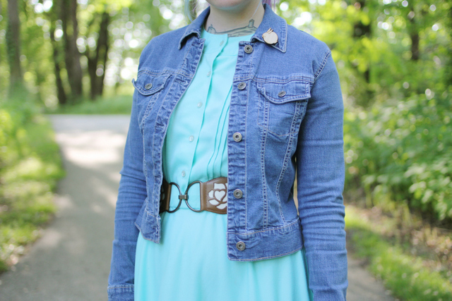 Photo of Kayla wearing my Sleeping Bunny Wood Pin by Kaylah of the Dainty Squid blog 2