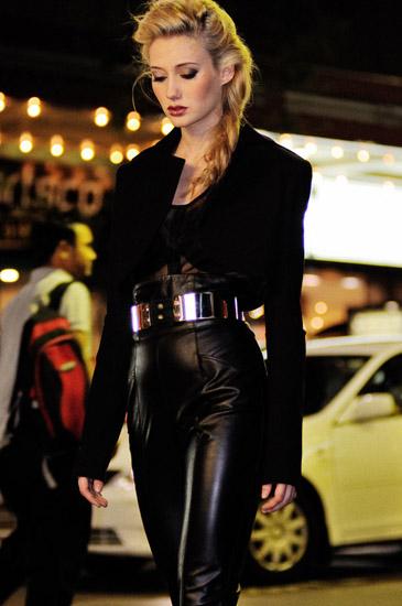 Midnight Cowboy, Night Editorial, Leather Pants, Bolero Jacket, Fashion Photography