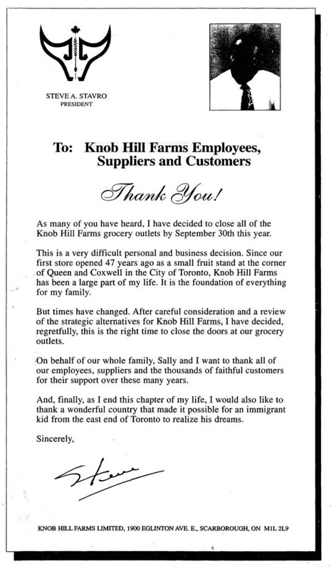 Vintage Ad #1,950: The Closure of Knob Hill Farms