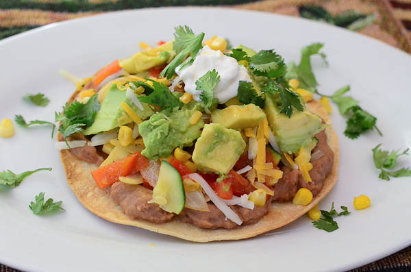 The completed Veggie Tostada served on a plate.