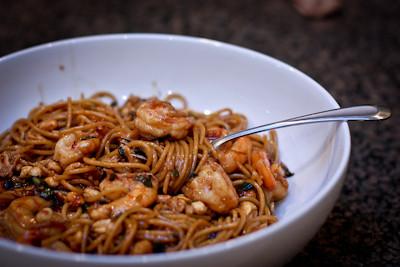 CPKs Kung Pao Shrimp Spaghetti i heart yummy