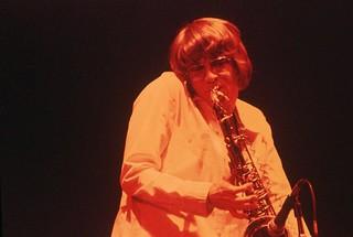Saxophone player at Bumbershoot, 1974