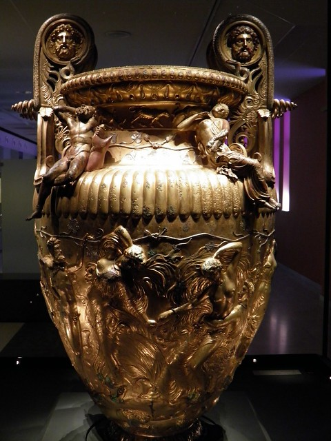 The Derveni krater, late 4th century B.C., Maenads with a Silenus, Derveni krater, side B, Archaeological Museum, Thessaloniki, Greece