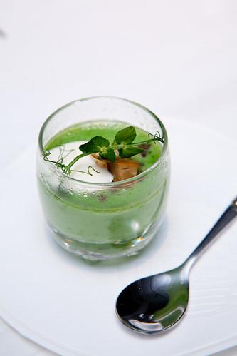 Chawan Mushi: Snap peas, porcini, creme fraiche