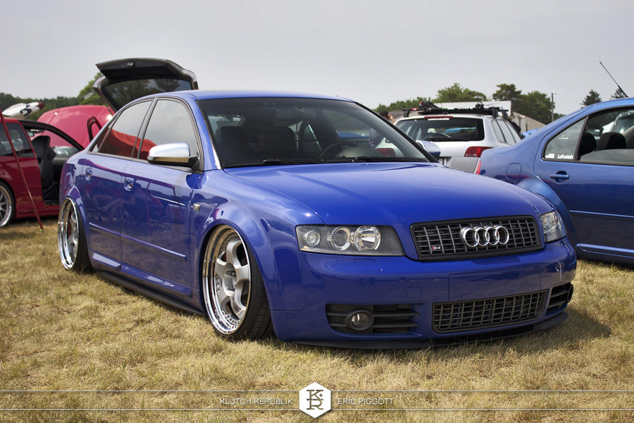 blue b6 audi a4 silver work miesters  at euro hanger 2012 Michigan 3pc wheels static airride low slammed coilovers stance stanced hellaflush poke tuck negative postive camber fitment fitted tire stretch laid out hard parked seen on klutch republik