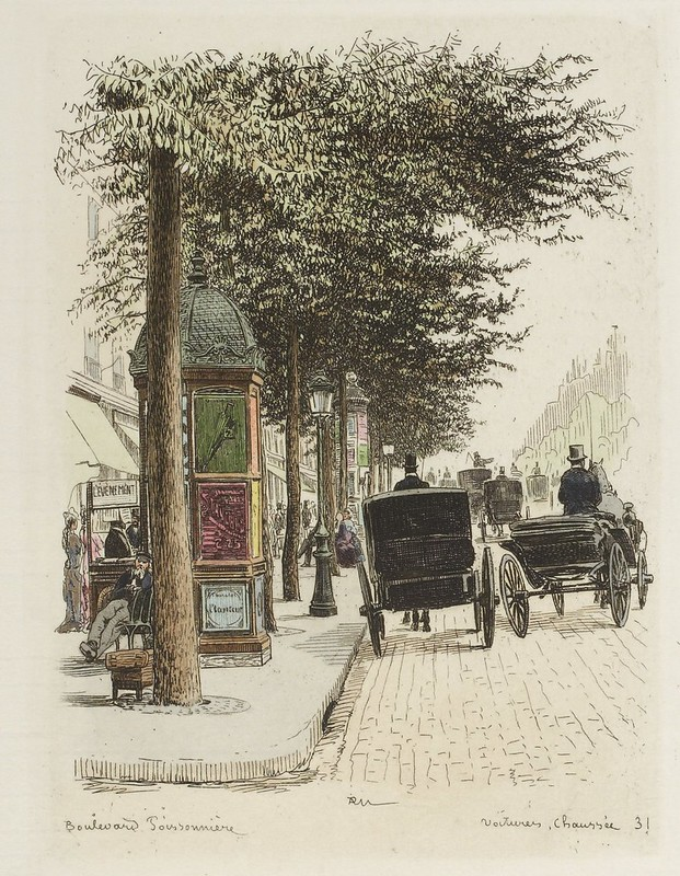 19th c. rear view of carriages on street