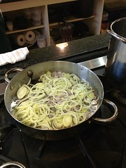 sweating the shallots and fennel