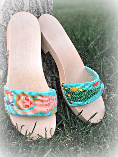 Mermaid stitched wooden sandals