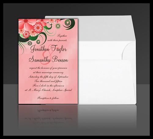 Pink Hibiscus Floral Wedding Invitation Suite