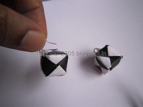 Handmade Jewelry - Origami Paper Box Earrings - Black & White (2) by fah2305