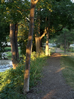 Walk Along Stream (white bridge in view) At Twilight
